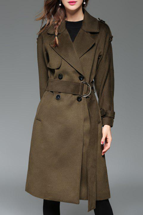 Manteau double boutonnage revers Belted Trench - Vert Armée L