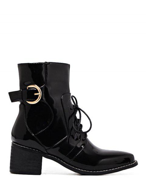 Patent Leather Buckle Strap Combat Boots - BLACK 39