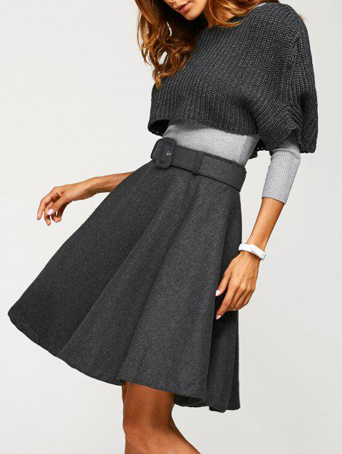Fitted Sweater With Knitted Crop Top Wool Skirt - GRAY XL