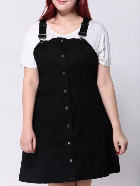 2018 Plus Size Front Button Up Pinafore Dress In Black 5xl