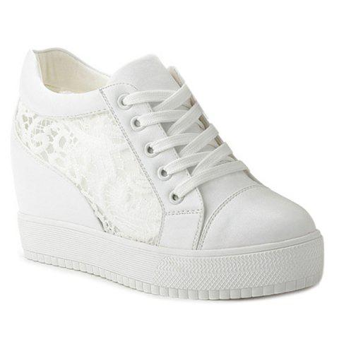 Hidden Wedge Hollow Out Platform Shoes - WHITE 37
