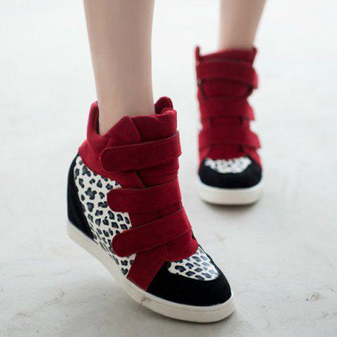 Hidden Wedge Leopard Print Ankle Boots - RED 40