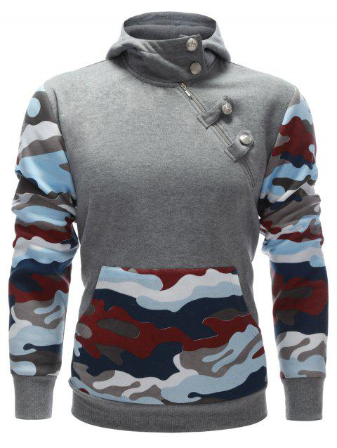 Buttoned Side Zip Up Camo Insert Hoodie - GRAY XL