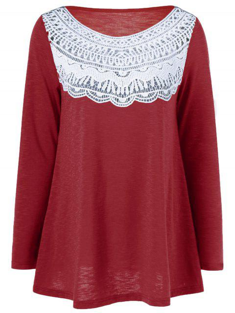 Lace Splicing Pleated T-Shirt - RED L