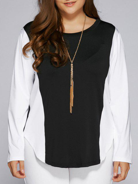 Plus Size Color Block Long Sleeve Top - WHITE/BLACK 3XL