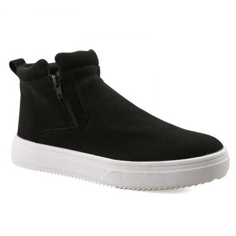 Suede Double Zips Ankle Boots - BLACK 41