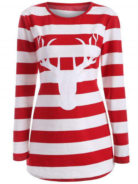 Striped Elk Print T-Shirt - RED S