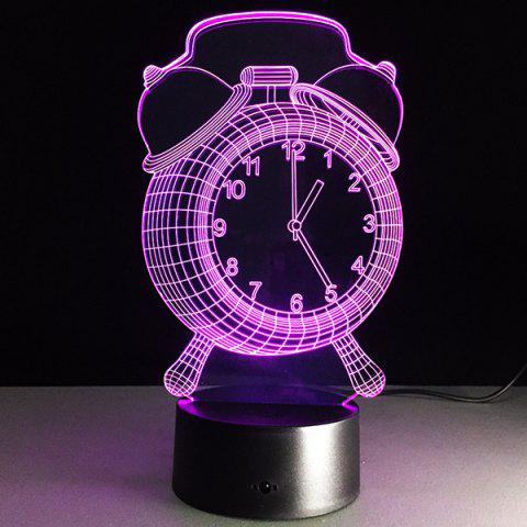 3D Clock 7 Color Touch Changing Night Light - TRANSPARENT