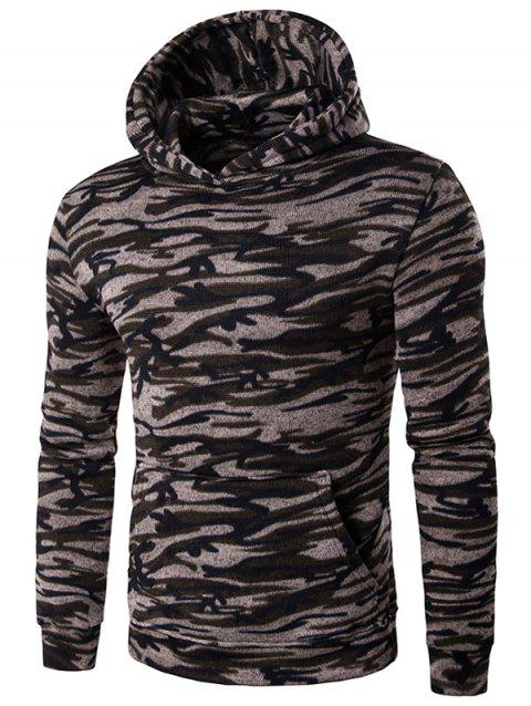 Camouflage Printed Pocket Long Sleeve Hoodie - GRAY M