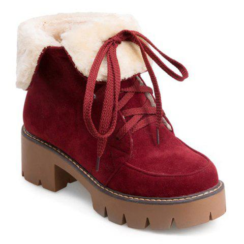 Fuzzy Fold Down Platform Boots - RED 38