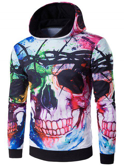 Sweat-shirt à Capuche d'Halloween imprimé de crâne en 3D - multicolore XL