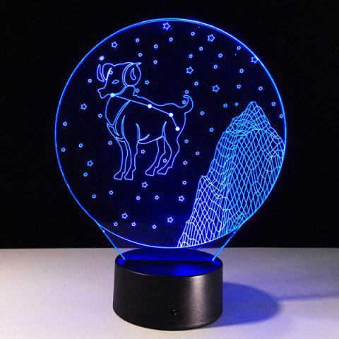 3D visuel Changement de couleur Aries Forme tactile LED Night Light - coloré