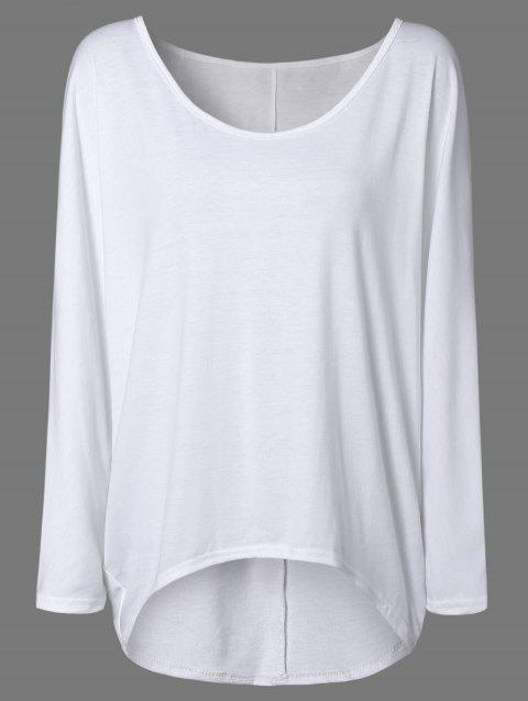 d7989ffe09c63 41% OFF  2019 High Low Plus Size Plain T-Shirt In WHITE M ...