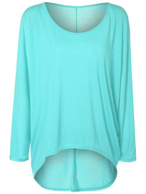4d5ed6e1ab0 LIMITED OFFER  2019 High Low Plus Size Plain T-Shirt In PHOTO CYAN ...