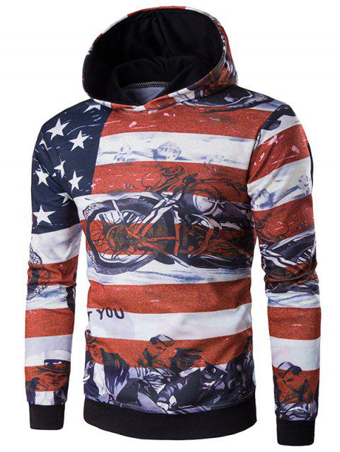 USA Flag Star Motorcycle Print Long Sleeve Hoodie - RED XL