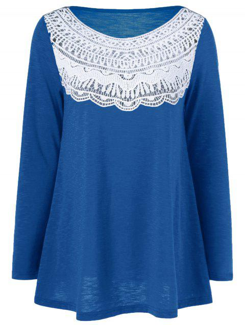 Lace Splicing Pleated T-Shirt - BLUE M
