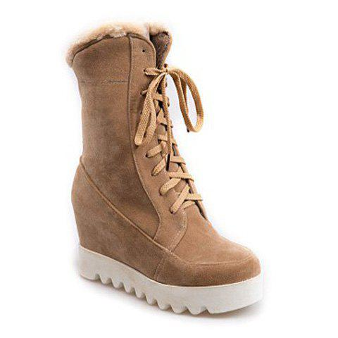 Lace Up Mid Calf Hidden Wedge Boots - BEIGE 39