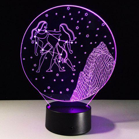 3D Visual 7 Color Changing Gemini Shape Touch LED Night Light - COLORFUL
