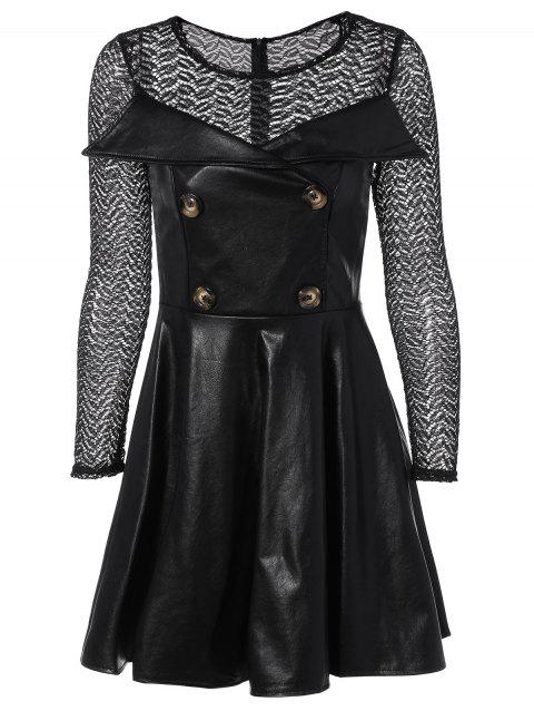Lace Paneled Faux Leather Swing Dress - BLACK S