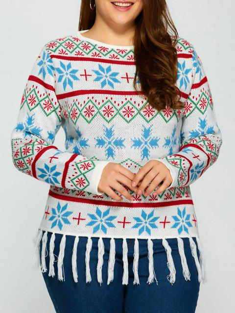 Plus Size Snowflake Pattern Tassel Trim Sweater - WHITE 3XL