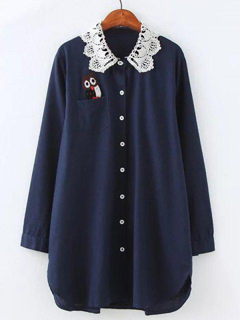 Plus Size Owl Lace Crochet Collar Tunic Shirt - PURPLISH BLUE 4XL