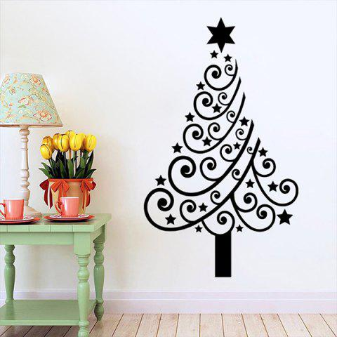 Christmas Multicolor Tree Removable Glass Window Wall Stickers - BLACK