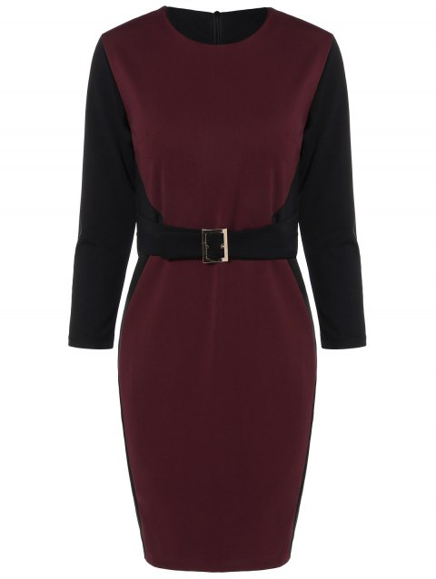 Color Block Knee Length Bodycon Dress - WINE RED M