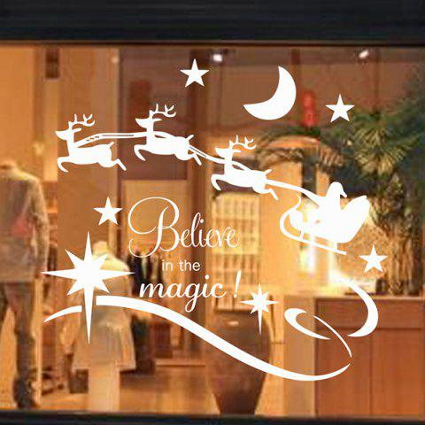 Christmas Believe Magic Glass Window Removable Wall Stickers - WHITE