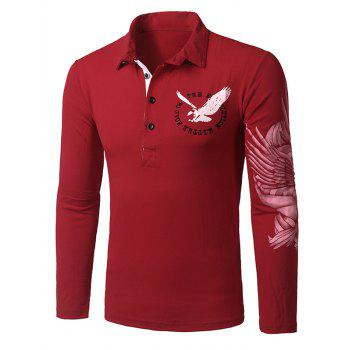 Stylish Turn-down Collar Animal Eagle Print Hit Color Men's Long Sleeves Polo T-Shirt
