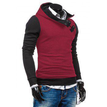 Zip-Up Slim Fit Color Block Side Hoodie - Rouge L