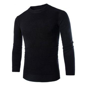 Laconic Round Neck Wheat Embroidered Stripes Intarsia Long Sleeves Men's Slim Fit Sweater