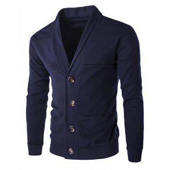 Single-Breasted Color Splicing Turn-down Collar Long Sleeves Slimming Men's Casual Cardigan