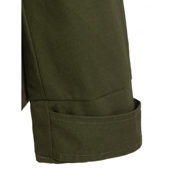 Drawstring Cargo Jacket with Hood - ARMY GREEN S