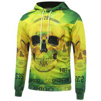 Drawstring 3D Skull Printed Hooded Long Sleeve Hoodie - YELLOW AND GREEN M