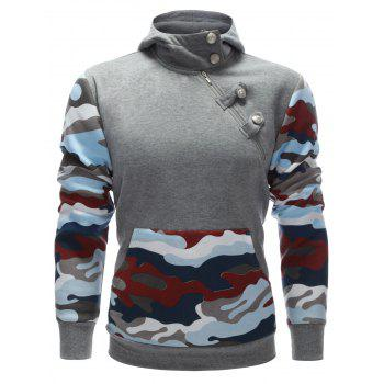 Buttoned Side Zip Up Camo Insert Hoodie