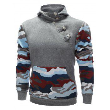 Buttoned Side Zip Up Camo Insert Hoodie - GRAY S