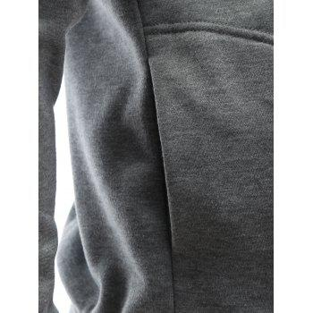 Buttoned Epaulet Design Plain Hoodie - GRAY GRAY