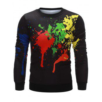 Crew Neck Paint Splatter Printing Sweatshirt - BLACK S