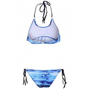 Halter Padded Lace Up Bikini Set - BLUE L