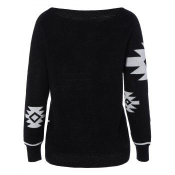 Long Sleeve Geometric Pullover Convertible Sweater - S S