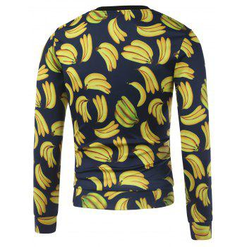 Crew Neck All Over Bananas Print Sweatshirt - YELLOW M