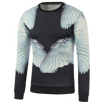 Buy Crew Neck Wing 3D Printed Sweatshirt BLACK