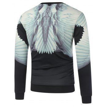 Crew Neck Wing 3D Printed Sweatshirt - BLACK L