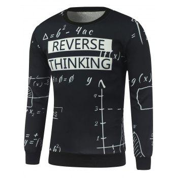 Mathematics Print Crew Neck Sweatshirt - BLACK BLACK