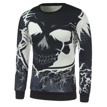 Cartoon Skull Print Crew Neck Sweatshirt