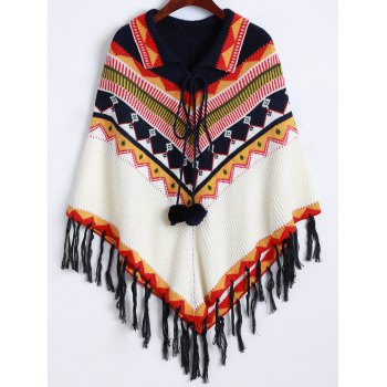 Lace-Up Fringed Cape Sweater