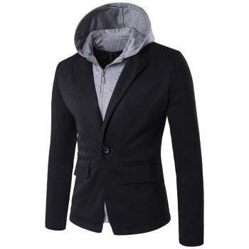 Hooded Zip-Up Spliced Faux Twinset One-Button Jacket - BLACK BLACK