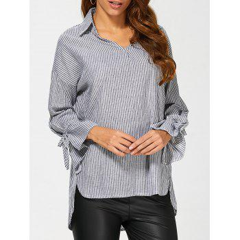 Pinstriped High Low Blouse