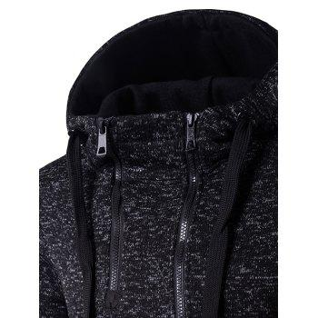 Hooded Drawstring Double Zipper Hoodie - M M