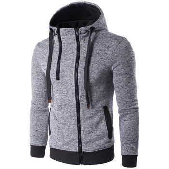 Hooded Drawstring Double Zipper Hoodie - LIGHT GRAY M